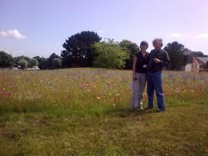 Treasure hunters in a meadow